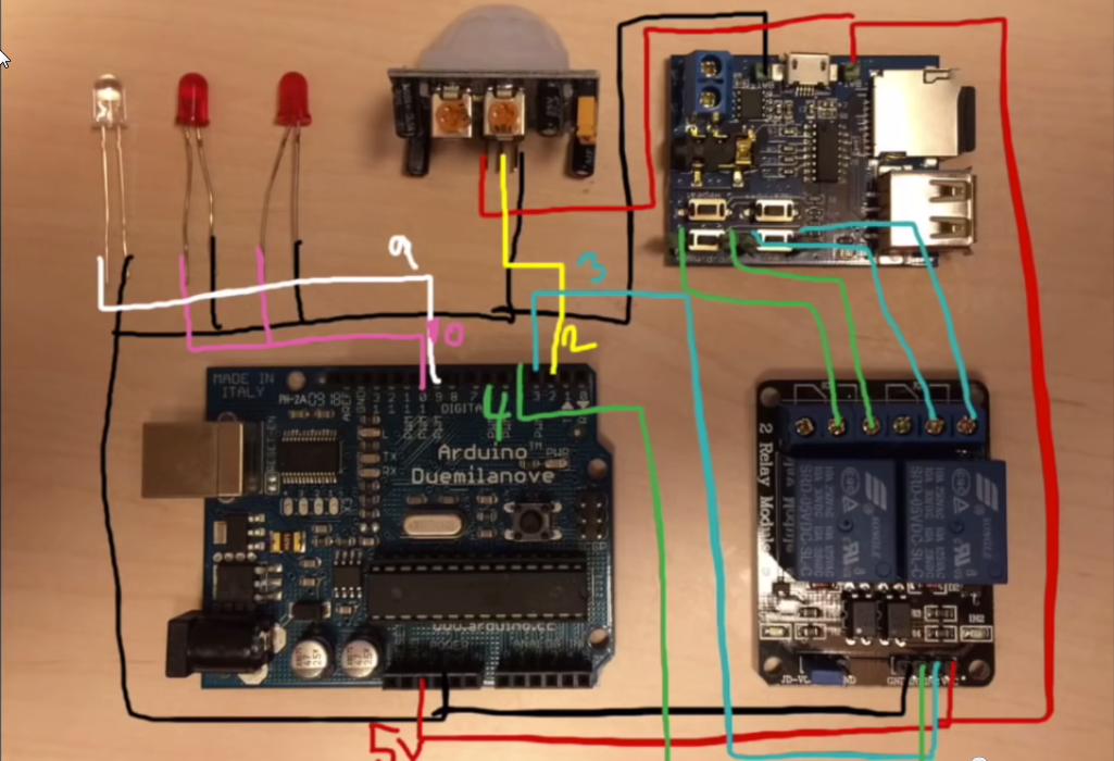 How to connect the MP3 module to the Arduino.