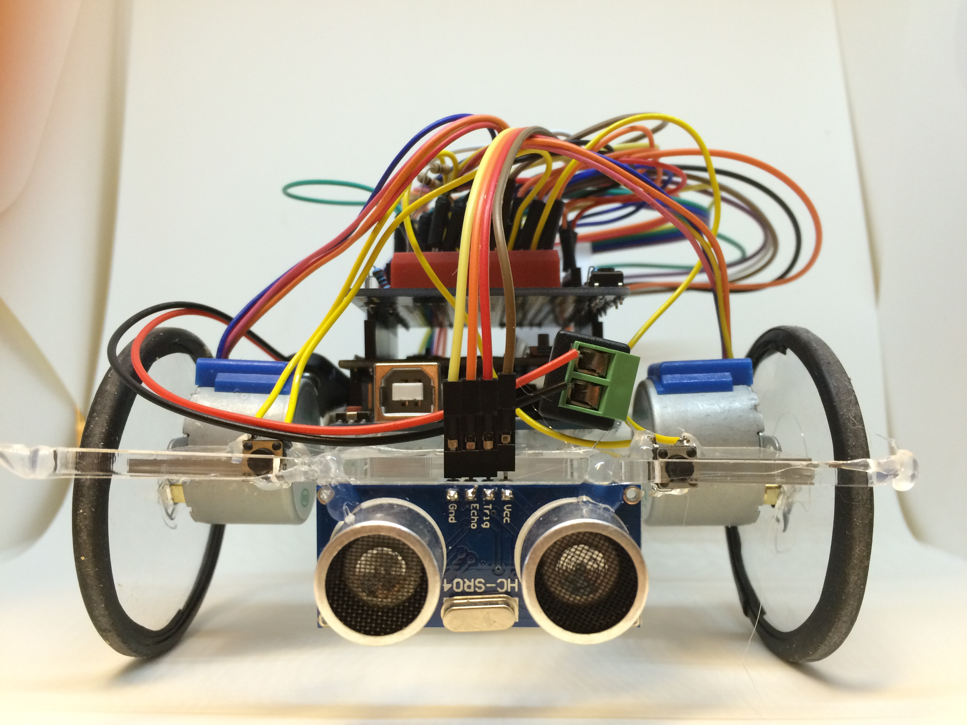 Picture of the robot with the Ping sensor attached.